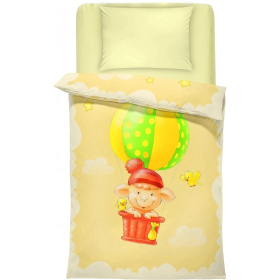 Бебешко спално бельо в жълто и екрю Балон, 100% памук ранфорс