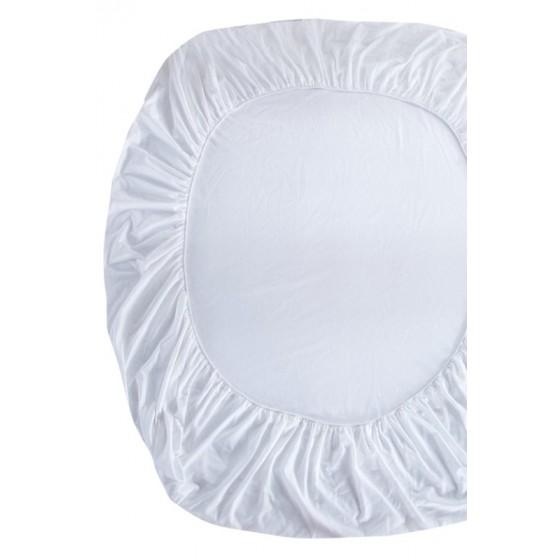 90/200/20 см., чаршаф с ластик ранфорс - светло екрю