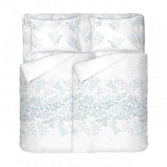Бяло Спално Бельо Памук ВИКТОРИЯ бяла, за Спалня с Два Плика, 100% Ранфорс, Пролетен Десен на Клонки