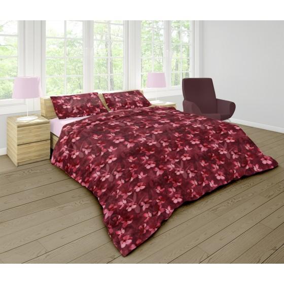 Наситено Спално Бельо в Бордо Бохемия 2, Двоен размер с два плика на цветя, 100% Памук