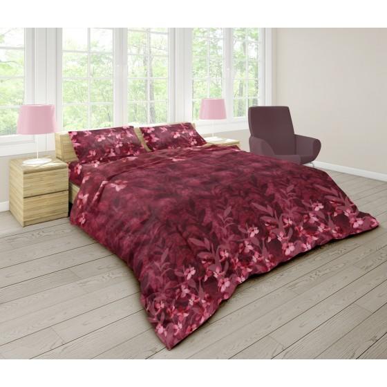 Оригинално Спално Бельо Ранфорс, Единичен Размер в Бордо, Спално Бельо на Цветя Бохемия, 100% Памук