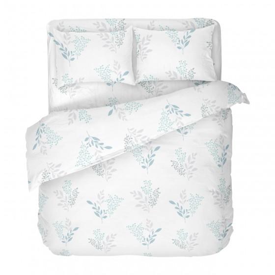 Бяло Спално Бельо на Цветя Виктория Бяла 2, Размер за Спалня с Един Плик, Високо Качество на Материята, 100% Памук Ранфорс