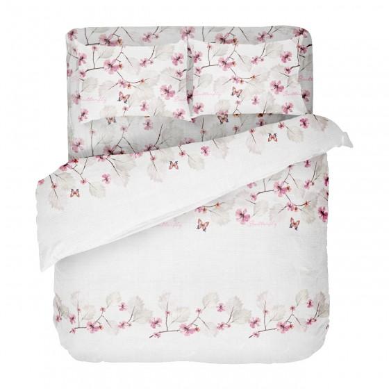 Спално Бельо в Бяло на Цветя и Пеперуди, в Двоен Размер с Един Плик, за Спалня, Красиво Спално Бельо МАРИ