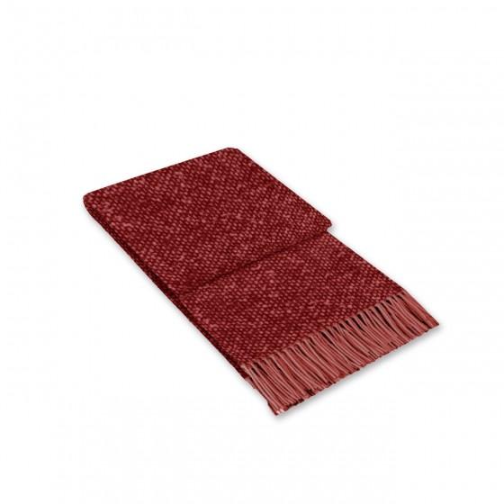 Червено Одеяло с Вълна - Тексас, Меланж Червено с Ресни, 140/200 см.