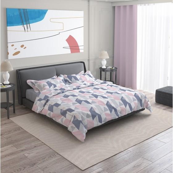 Модернистично Спално Бельо Алекса Двоен Размер с Един Плик, с Графични Елементи, Мотиви в Розово, Сиво и Бяло