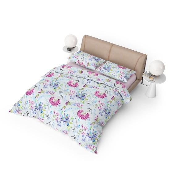 Красиво Спално Бельо Ранфорс в Двоен Размер с Два Плика април 2, Спално Бельо в бяло на Цветя, DILIOS, 100% Памук