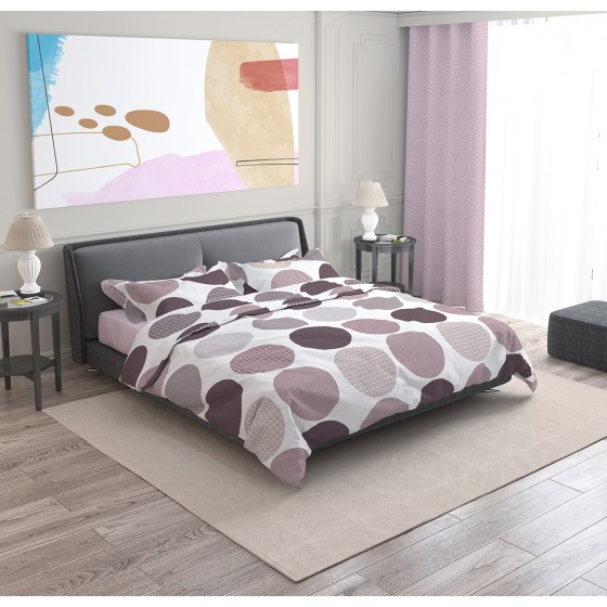 100% Памук, Лилав Спален Комплект АВА на Точки, за Спалня с Два Плика, изчистена визия за Вашата Спалня