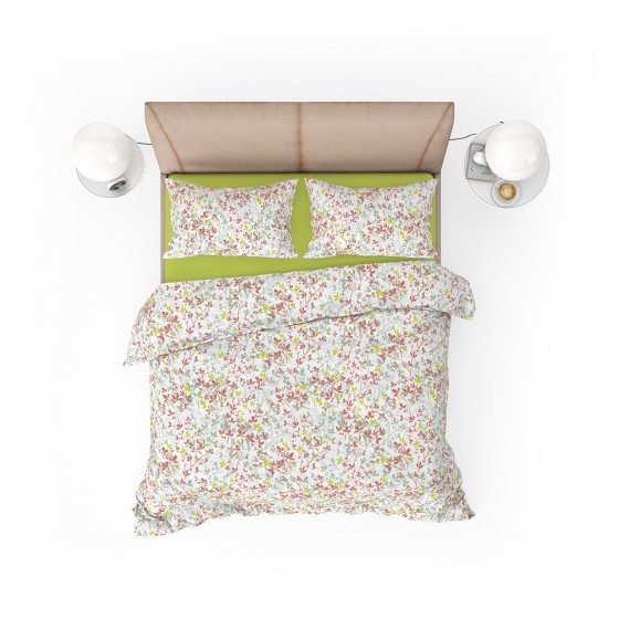 Двойно Спално Бельо в Бяло с Два Плика, на Нежни Листенца в Различни Цветове, Спално Бельо от Ранфорс Клер, 100% Памук