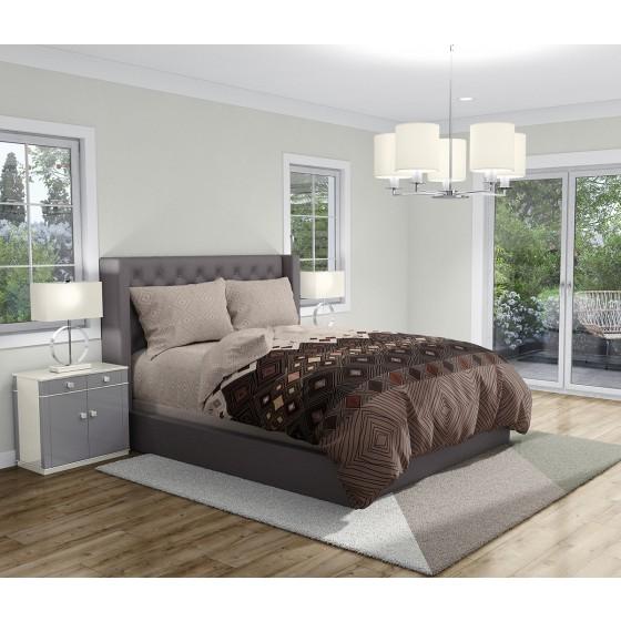 Висококачествено Спално Бельо в Бежово и Кафяво - КАФЕ, Двоен Размер с Два Спални Плика, Висока Здравина и Мекота на тъканта, 100% Памук