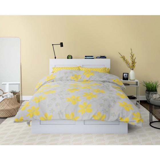 За Спалня Жълто и Сиво, Спално Бельо, 100% Памук КРЕСИДА, за Единично Легло