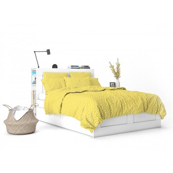 Жълто на Бели Точки, Спално Бельо в Двоен Размер с Два Плика Кресида 2 от 100% Памук, ниска свиваемост, устойчиви цветове