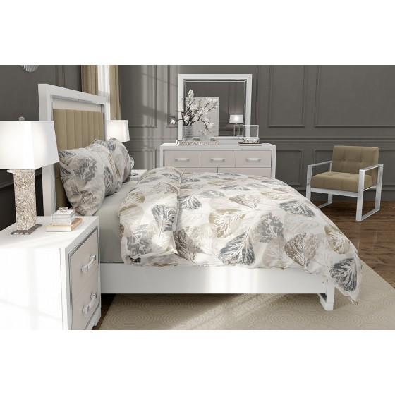 Спален Комплект Памук Елизабет в Екрю на Листа, за Спалня, Двоен Размер