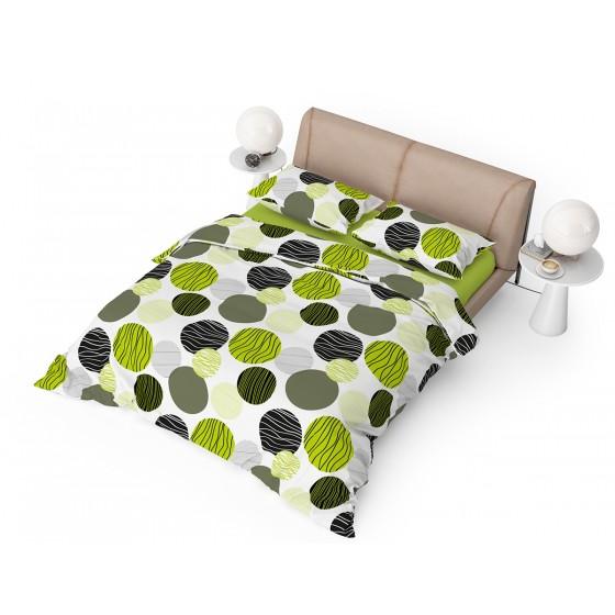 Спално бельо фреш на Зелени и Черни кръгове ,  Двоен Размер с Един Плик,  100% Памук