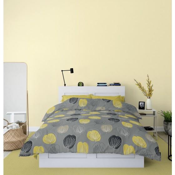 Модерно Спално Бельо в Сиво и Жълто ГРЕЙС, Размер за Спалня с Два Плика, Свеж и Интересен Десен с мотив листа