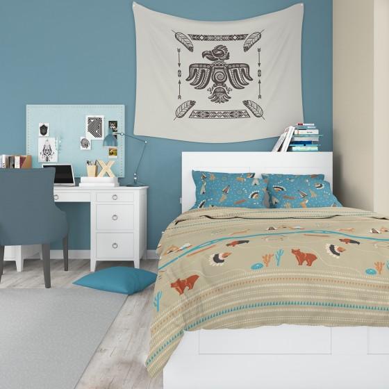 Детско спално бельо за момчета - ИНДИАНСКО СЕЛО, размер за Единично Легло, Съчетание от индиански мотиви, 100% памук