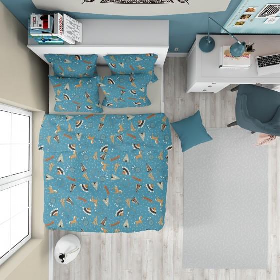 Детско спално бельо в синьо за момчета - ИНДИАНСКО СЕЛО 2, За единично легло, Материя Ранфорс, Син десен с индиански мотиви