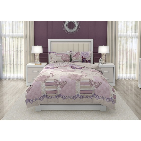 Спално Бельо за Винтидж Спалня, на Цветя и Пеперуди Жутем
