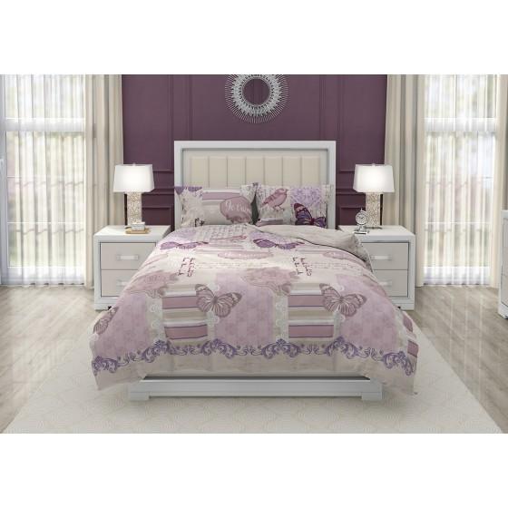 Двоен Размер Спално Бельо на Цветя и Пеперуди Жутем, С Два спални плика, Нежна и Романтична Визия, Висококачествен Ранфорс