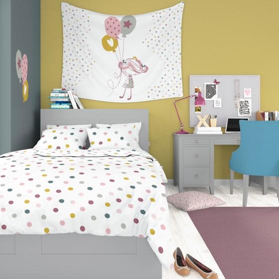 Спално Бельо на Точки от 100% памук, ДЖОЙ, за Единично Легло