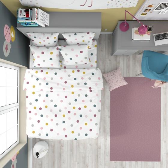 Спално бельо със свеж десен и двоен спален плик, Цветни точки върху бял фон - ДЖОЙ, 100% памук Ранфорс
