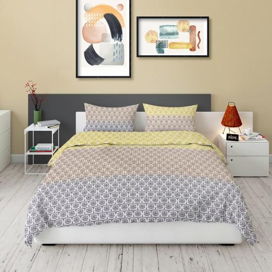 Модерно спално бельо в три преливащи цвята - КИМ, Размер за спалня с двоен плик, Качествена материя и красив дизайн