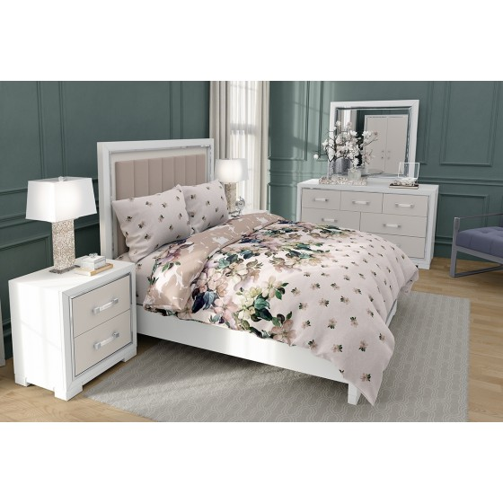 Винтидж Красиво Спално Бельо ЛАУРА на Цветя, Размер за Спалня с два Плика, 100% памук, ранфорс