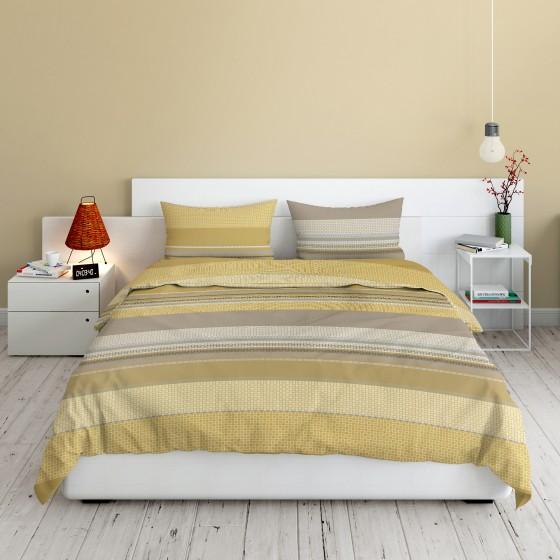 Памучно спално бельо в цвят Горчица ЛИОН DILIOS, Двоен Размер с Два Плика, ранфорс