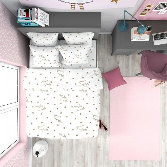 Бяло Памучно Спално Бельо с Надписи, Златисти Звездички - Желание 2, Размер за Двойно Легло