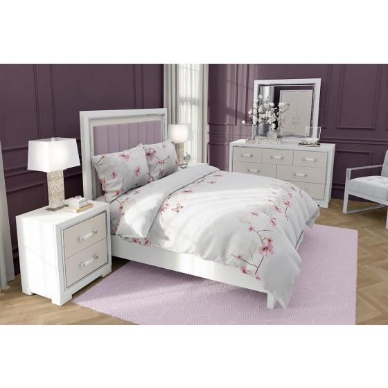 Единично Спално Бельо в Бяло на Цветя и Пеперуди, Висока Плътност на Материята, 100% Памук, Красиво Спално Бельо МАРИ