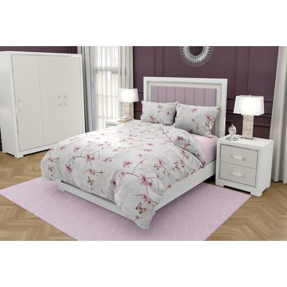 Спално Бельо с Пеперуди и Цветя МАРИ 2, Двоен размер за спалня с един плик, Качество Ранфорс
