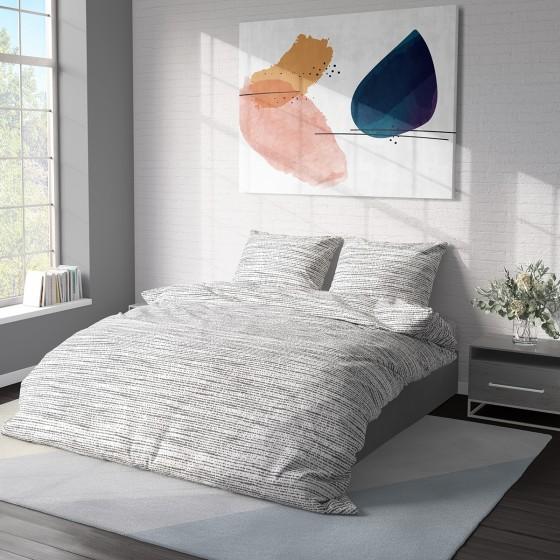 Спално Бельо от Ранфорс в Сиво Мист 2, Семпъл Дизайн, 100% Памук, за Спалня с Два Плика