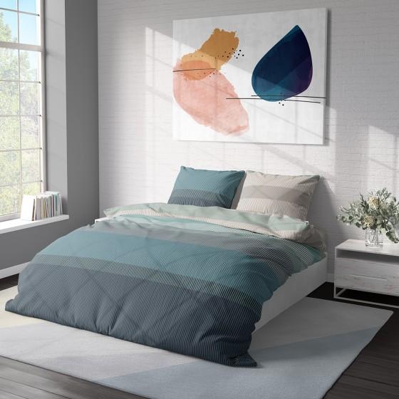 Модерно спално бельо в тюркоазено и сиво на геометрични фигури - Нептун, двоен размер с два спални плика, 100% памук ранфорс