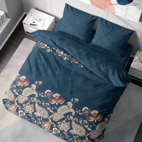 Тъмно Зелено Спално Бельо с Флорални Мотиви ОЛИМПИЯ, Размер за Спалня с Два Плика от 100% Памук, Модерна Визия за Вашата Спалня
