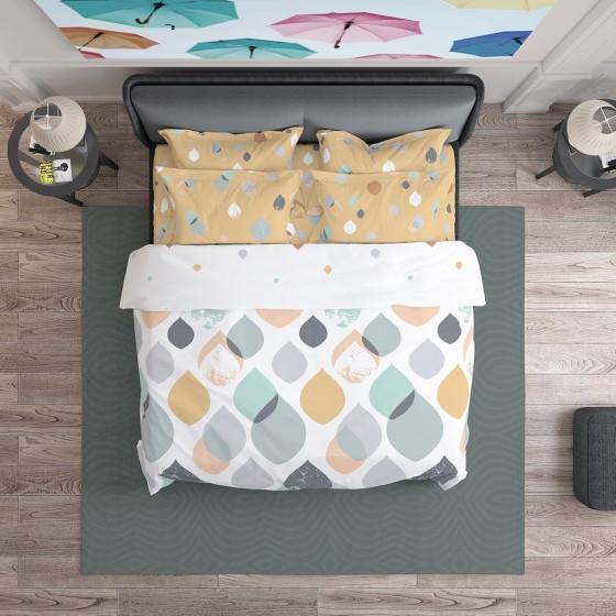 Спално Бельо в пастелни цветове Серена, двоен размер с един спален плик, 100% памук ранфорс