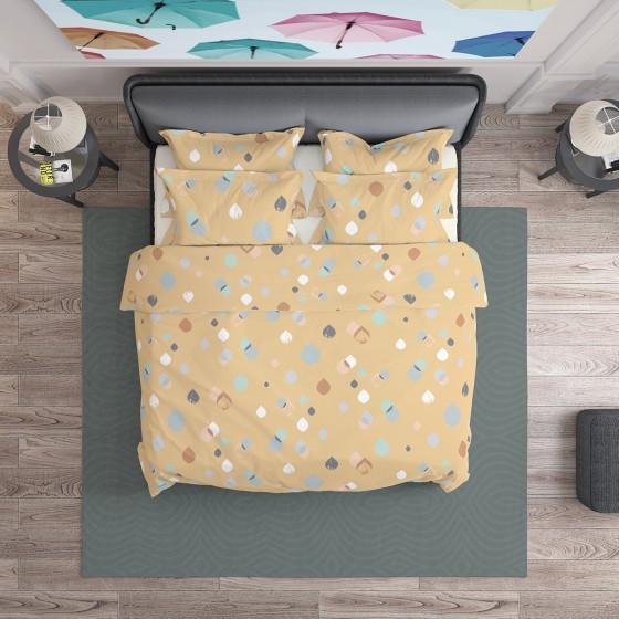 Спално Бельо в пастелни цветове Серена 2, двоен размер с един спален плик, 100% памук ранфорс