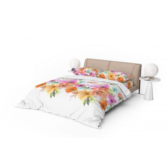 Бяло Спално Бельо на Цветя в Единичен Размер СЪМЪР, Цветно Спално Бельо, 100% Памук