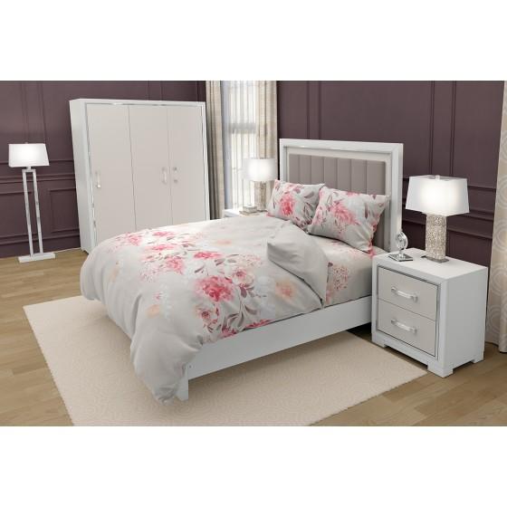 Романтично Спално Бельо на Рози ТАНЕА, Цветя върху Фон Екрю, за Спалня с Един Плик, 100% Памук