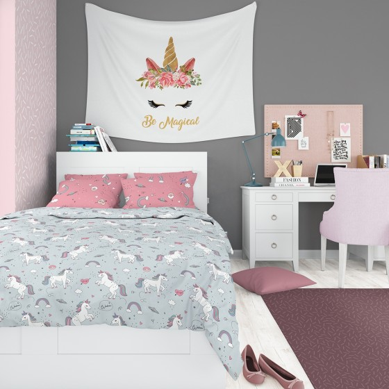Детско Спално Бельо Еднорог в двоен Размер, 100% памук Ранфорс, с двоен спален плик