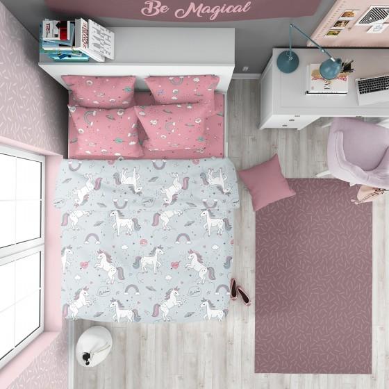Детски Спален Комплект Розово и Сиво - Еднорог, Многосезонна Памучна Материя Ранфорс, DILIOS