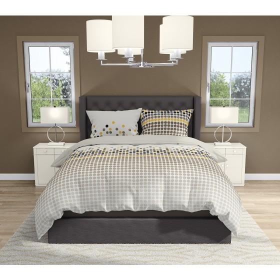 Бежово Спално бельо на Черни и Жълти Точки ВЕНТО в Размер за Спалня с Два Плика, Висока Плътност и Качество на Материята, 100% Памук