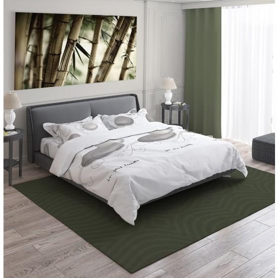 Спално Бельо в Бяло Единичен Размер, с Илюстрация на Камъни - ДЗЕН, Спално Бельо от Ранфорс, Ниска Свиваемост на Материята