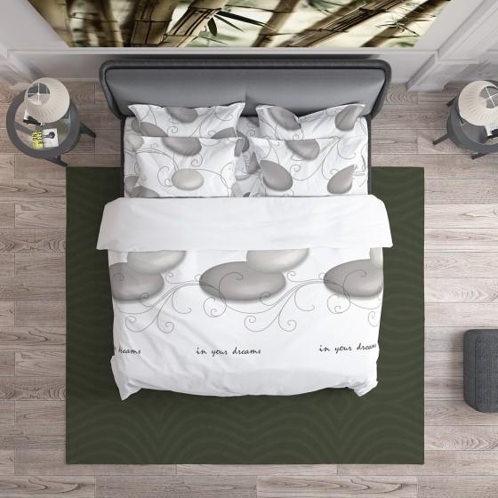 Спално Бельо в Бяло с Илюстрация на Камъни ДЗЕН, Размер за Спалня с Един Плик, Спално Бельо от Качествена Памучна Материя Ранфорс