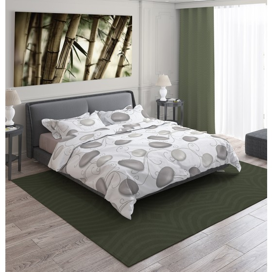 Двоен спален комплект в бял цвят на сиви камъни - ДЗЕН 2, С един спален плик, Семпъл и красив десен