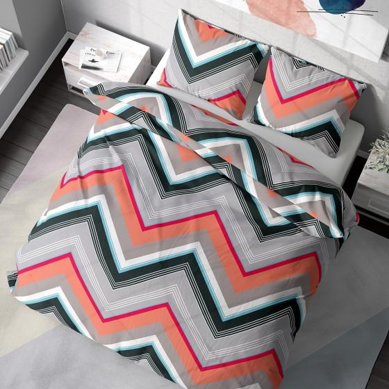 СПАЛНО БЕЛЬО с геометрични шарки Зиго, двоен размер с един двоен спален плик, 100% памук ранфорс