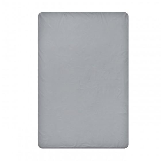 Едноцветен долен чаршаф в тъмно сиво, размер 150/260 см., материя Ранфорс
