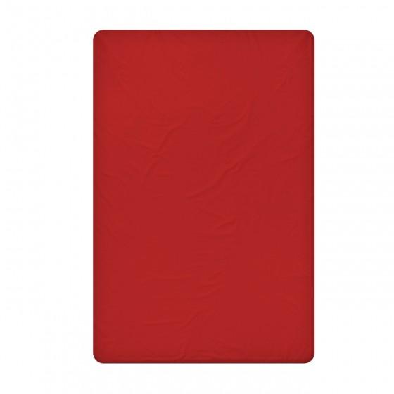 Червен долен чаршаф от 100% памучен сатен, размер 240/260 см.