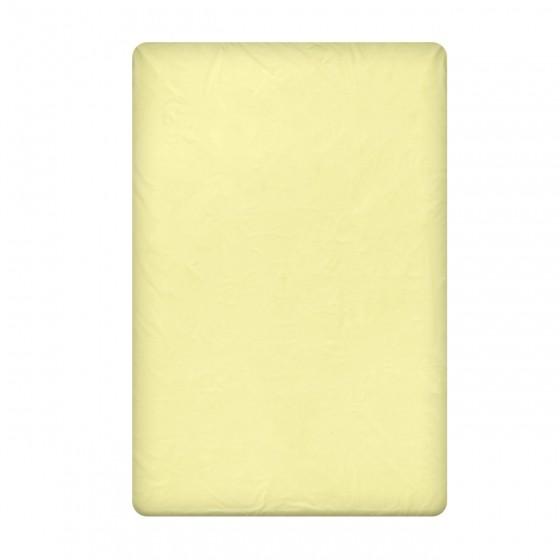 Едноцветен долен чаршаф в светло жълто, размер 220/240 см, материя Ранфорс