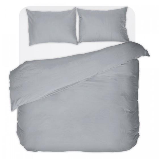 Двойно Спално Бельо в Сиво, с Един Плик без Долен Чаршаф, 100% Памук, Едноцветно
