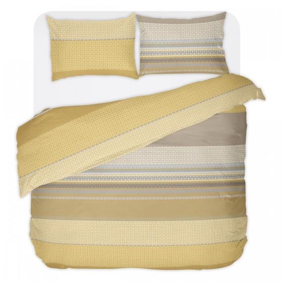 Спално бельо в цвят Горчица ЛИОН, Без Долен Чаршаф, двоен размер с Един Спален Плик, 100% памук ранфорс