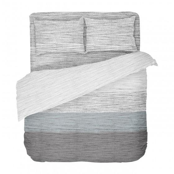Спално Бельо в Сиво и Синьо със Семпъл Дизайн Мист, В Двоен Размер с Един Плик, материя Ранфорс, 100% Памук